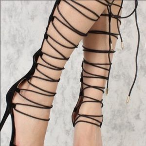 NWB Black High Lace Up Strappy Heels